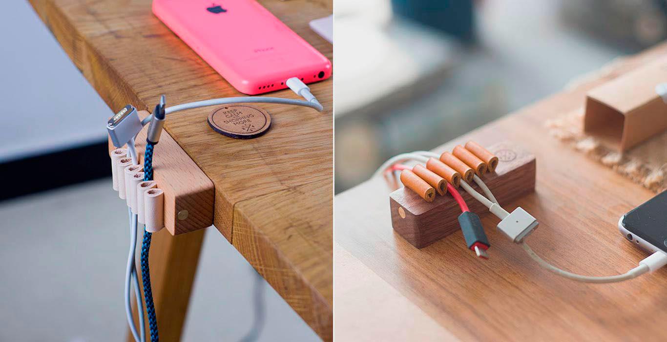 Деревянный органайзер для кабелей от 1984