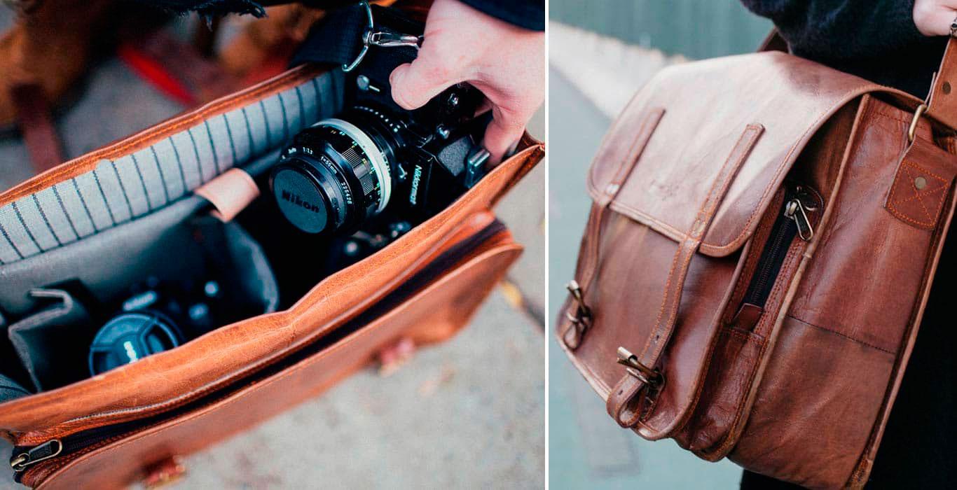 Кожаная сумка для студийной камеры