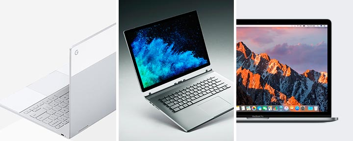 Google Pixelbook vs. Microsoft Surface Book vs. Apple MacBook Pro