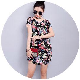 Короткое нарядное платье с рисунком